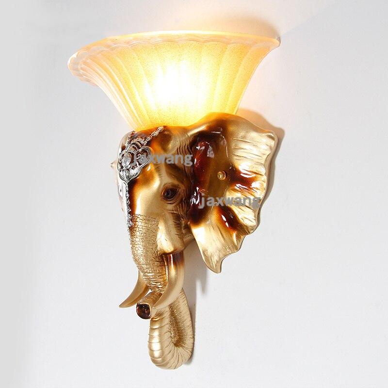 Retro creativo pasillo elefante lámpara de pared dormitorio cabecera pasillo escalera espejo pared proyecto LED decoración para pared apliques