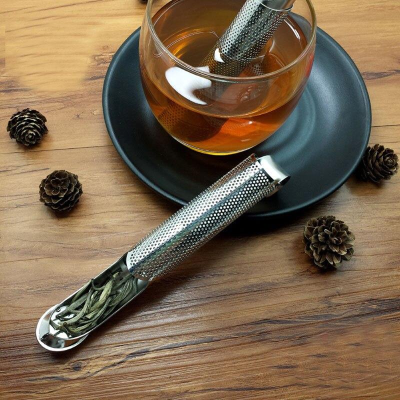 1PC de tabaco tubo de forma de acero inoxidable colador de té reutilizable Infusor de hojas sueltas de filtro taza estilo colgante café Teaware