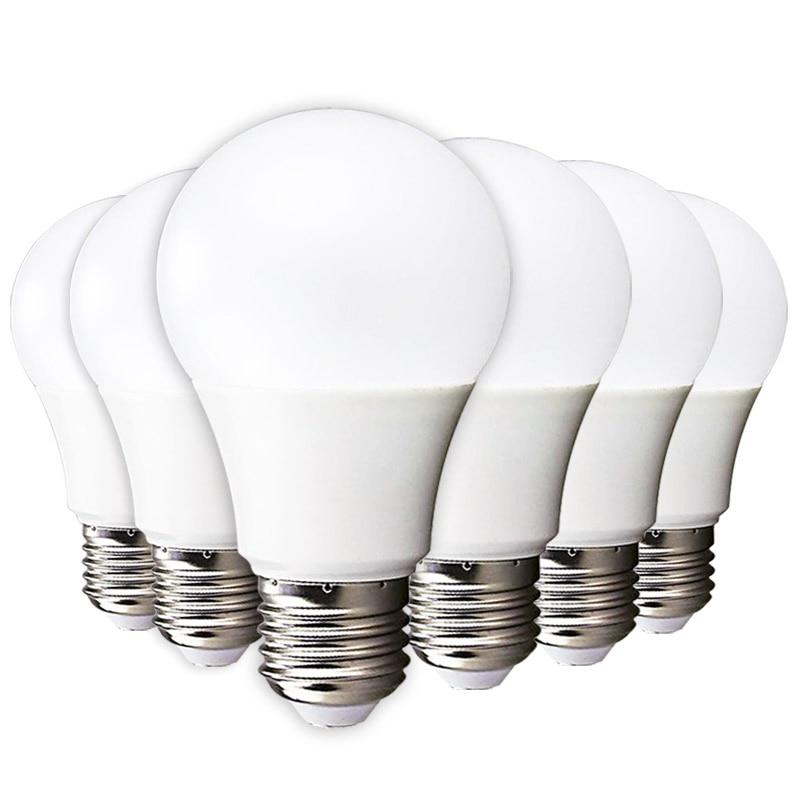 6pcs LED Lamp Light E27 LED Lampada Ampoule Bombilla 3W 5W 7W 9W 12W 15W 18W LED Bulb 220-240V Cold/Warm White SMD2835 LED Light