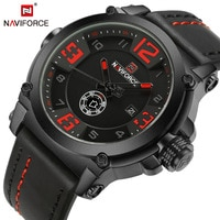 NAVIFORCE Men Sports Watches Luxury Military Quartz Watch Leather Strap Mens Waterproof Wristwatch Male Clock Relogio Masculino