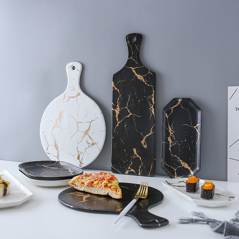 Creative raya de mármol rectángulo grande y plato redondo de cerámica para Pizza utensilios de cocina porcelana Sushi vajilla al por mayor