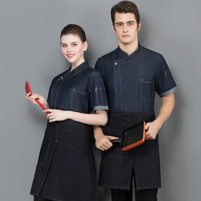 Летняя рабочая одежда шеф-повара с коротким рукавом, униформа шеф-повара для женщин и мужчин, еда, услуги, западный ресторан, ресторанное обс...