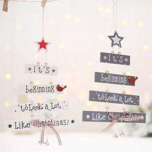Christmas Wooden Pendant Door Decorations Xmas Tree Hanging Home Ornaments AU