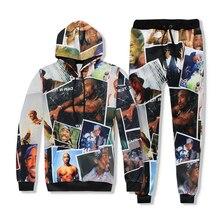 2018 Autumn New Fashion Hoodies 3D All Over Print Tupac Shakur 2Pac Men/women Sweatshirt Harajuku Hoodies+joggers pants