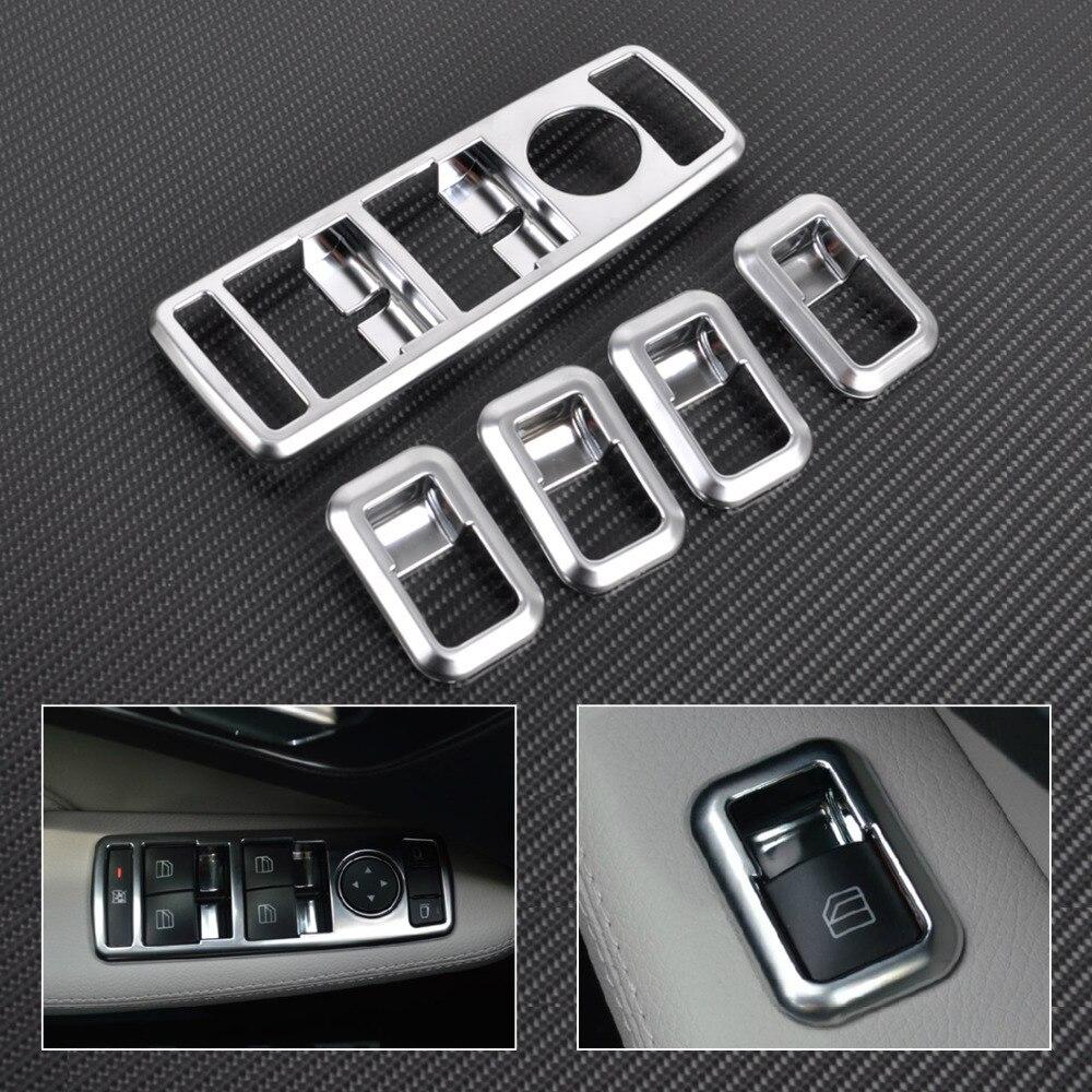 Cubierta del panel del interruptor de la ventana del cromo mate del Interior del coche de cigall para Mercedes Benz C GLK clase W176 W246 W204 W212 W218 X204