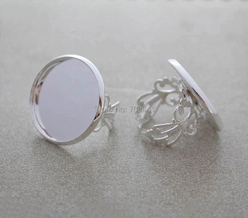 Configuración de anillo abierto en blanco con bisel liso redondo de resina cabujón de camafeo Bases de anillos de flores de filigrana accesorios de bricolaje Chapado en plata