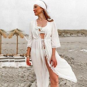Women's Beach Cover Dress New Hot Sale White Lace Dress Sexy White Kimono Long Dress Open Stitch Tie Up Maxi Dress sheer robes