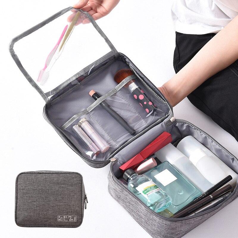 Bolsas de almacenamiento de artículos de tocador de gran capacidad, estuche de viaje para juego para maquillaje, organizador, cierre Zip, accesorios para maletas, artículos de suministros