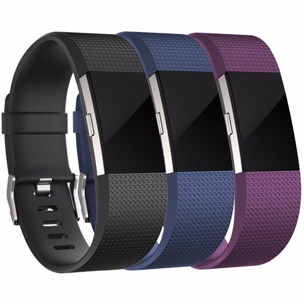 Paquete de 3 accesorios de repuesto, pulseras de silicona, correa de reloj para Fitbit Charge 2 HR, grande y pequeño