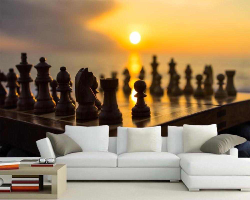 Papel де parede шахматы Sunrises и sunsets солнце фото обои, гостиная ТВ диван стены спальня кухня ресторан бар 3d фрески