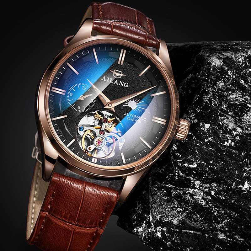 Relojes de marca superior para Hombre, reloj mecánico automático Tourbillon, reloj deportivo de cuero, Relojes de Reloj De Pulsera De Negocios informales dorados para Hombre