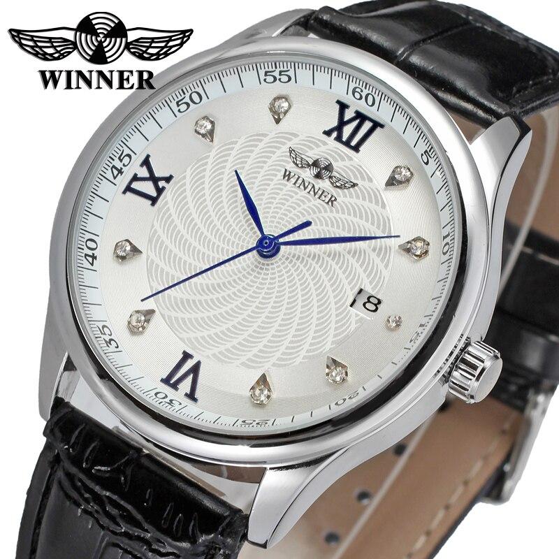 Nuevo ganador Casual automático relojes hombres gran venta automático moda hombres reloj negro cuero Correa envío gratis WRG8024M3S5