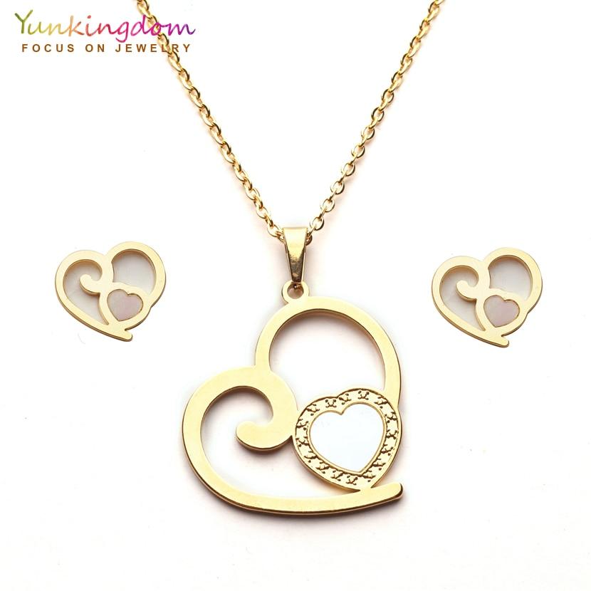Yunkingdom romantic heart design trendy jewelry sets stainless steel pendant necklace earrings for women UE0251