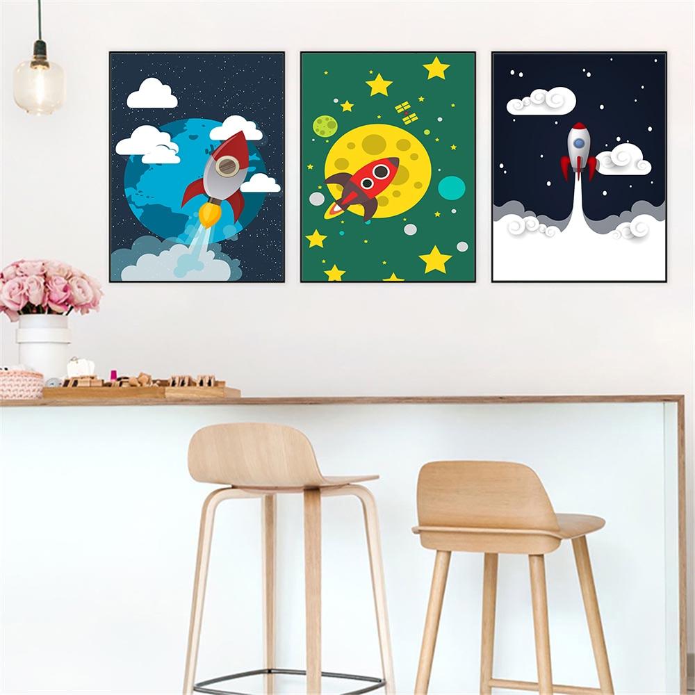 Cartoon sterowiec rakieta gwiazda chmura statek kosmiczny plakat na płótnie styl skandynawski wystrój pokoju dziecięcego przedszkole sypialnia chłopcy Wall Art Picture