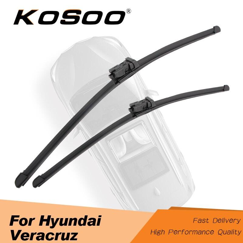 "KOSOO For Hyundai Veracruz 24""+20"" 2007 2008 2009 2010 2011 2012 Auto Car Windscreen Wiper Blades Rubber Fit Push Button Arms"