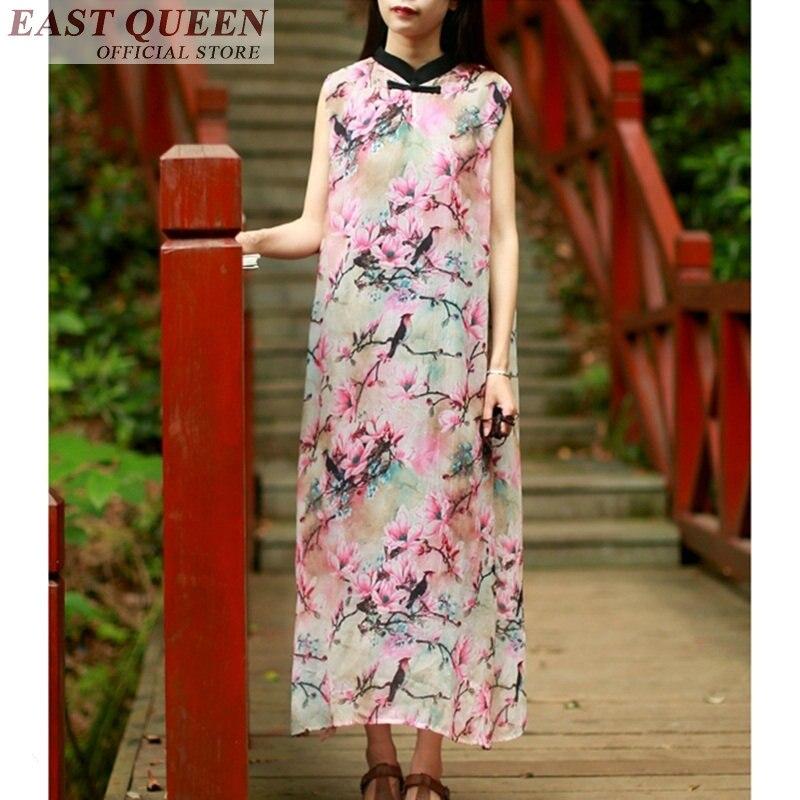 فستان صيني تقليدي بدون أكمام للنساء ، شيفون ، ملابس شرقية مطبوعة بالزهور ، فستان طويل بفتحة جانبية ، عتيق ، واسع ، DD819 L