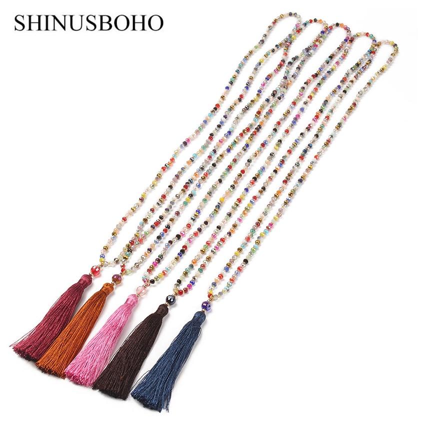 SHINUS, collares de cuentas coloridas bohemias para mujer, collar con abalorios facetados de cristal de arcoíris, joyería con borlas de colores a la moda para mujer