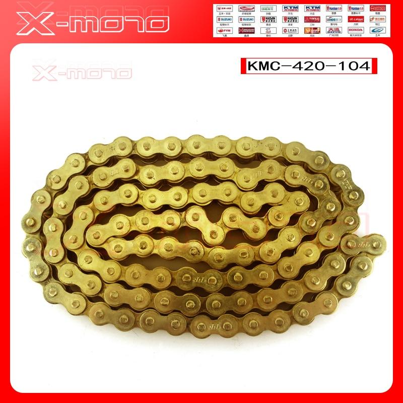 Золотая цепь KMC 420 102/104/108, Золотая цепь для O-RING, 50, 70, 90, 110, 125 куб. См, Байк/питбайк 420, китайский выбор