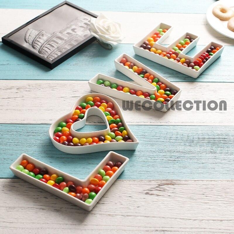 Керамическая тарелка для конфет с надписью «LOVE»-1