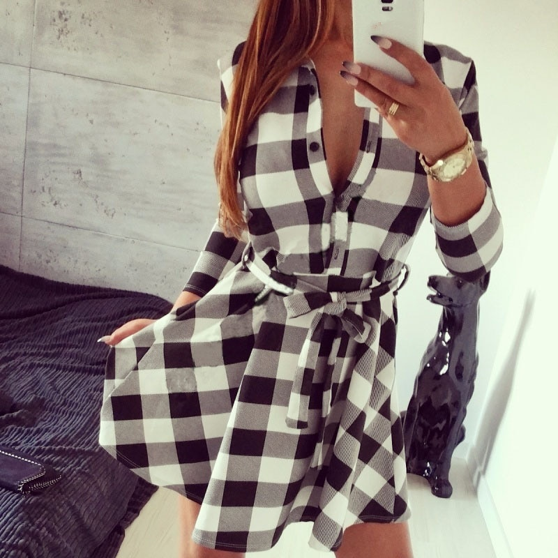 Весенне-осенняя черно-белая женская одежда, мини-платье в клетку в стиле ретро, повседневные рубашки, мини-платье, халаты