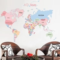 13090cm large colorful world map wall stickers map wall decals for kids room diy vinyl home decor bedroom decorations