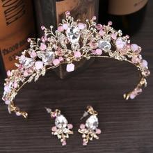 Luxe or rose perle couronnes de mariée à la main tiare mariée bandeau cristal mariage diadème reine couronne mariage cheveux accessoires