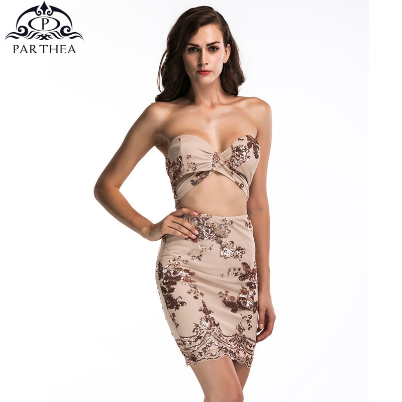 Parthea Sexy vestido de lentejuelas de verano sin tirantes vestido de fiesta de las mujeres ahueca hacia fuera el vestido Bodycon Backless Mini Vestidos glamurosos Vestidos