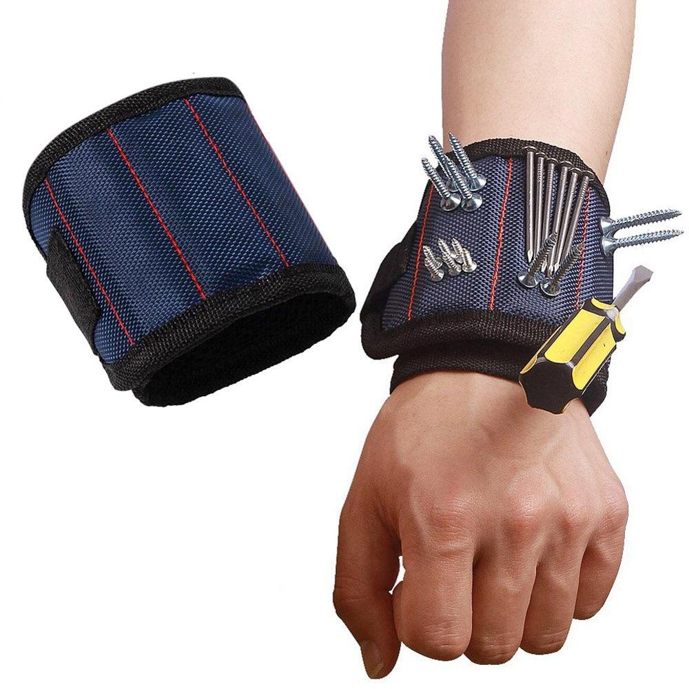 Saco de pulseira magnética poliéster ferramenta portátil eletricista ferramenta de pulso parafusos da correia unhas brocas titular ferramentas reparo