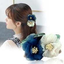 i-Remiel Handmade Korean Fabric Flower Hairpin Claw Clip Cloth Art Hair Accessories Top Clips Headwear Women Wedding Decoration