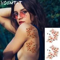 orange acacia flowers arm shoulder tattoo stickers flash henna tattoo fake waterproof temporary tattoos sticker women on body