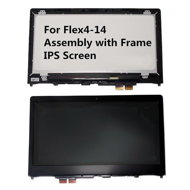 Montaje táctil LCD IPS 1080P con marco para Lenovo Ideapad Flex4 14 Flex 4-14 Flex 4 14 1470 1480 1435 de 14 pulgadas