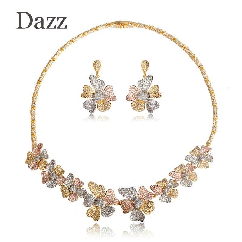 Dazz flor hoja joyas con forma de corona establece 3 tonos mujeres boda Naija nupcial collar de circonia cúbica pendiente Dubai joyería Africana Set
