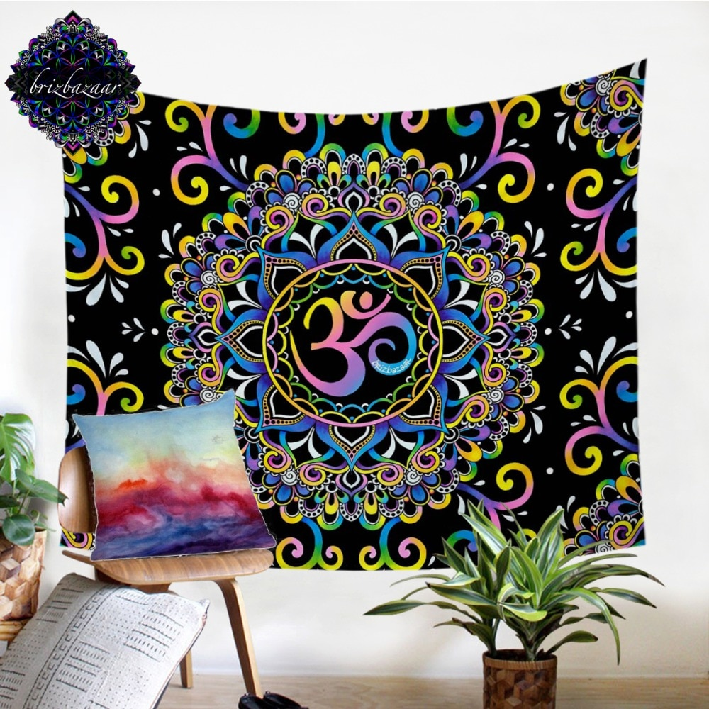 DoodleOhm de Brizbazaar tapiz colgante de pared Mandala cubrecamas de flores colorido Alfombra de pared rosa púrpura sábana azul 150x200cm