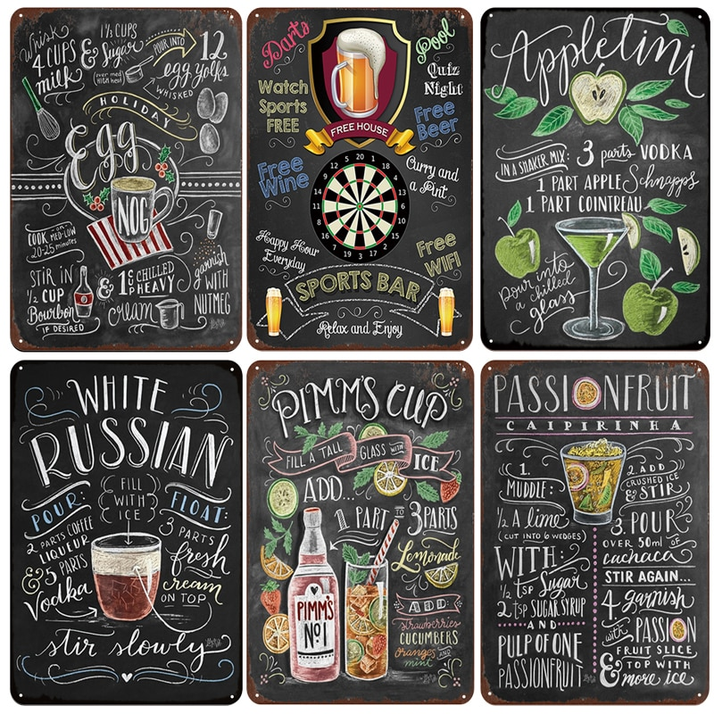 Pancartes métalliques blanches   Bar russe Cocktail, signes Vintage en étain pour la maison, Plaques décoratives pour la maison, Plaques murales en métal
