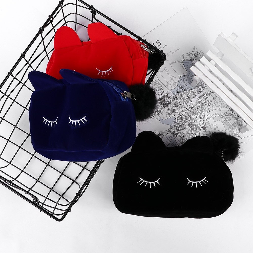 Portable Cartoon Cat Makeup Bag Coin Storage Case Travel Makeup Flannel Pouch Cute Cosmetic Bag Case