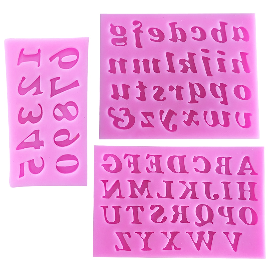 3 unids/set de silicona, accesorios de cocina, moldes de Chocolate con forma de número de letras en inglés, moldes de Fondant para pasteles, plantillas para repostería