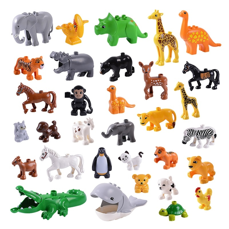 Animal Series Figures Big Building Block Compatible  Parts Creative Blocks Children Gift Toy Dropshipping