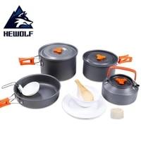 hewolf 4 5 peson camping cookware utensils picnic tableware pot pan hiking outdoor cooking camping tableware picnic set