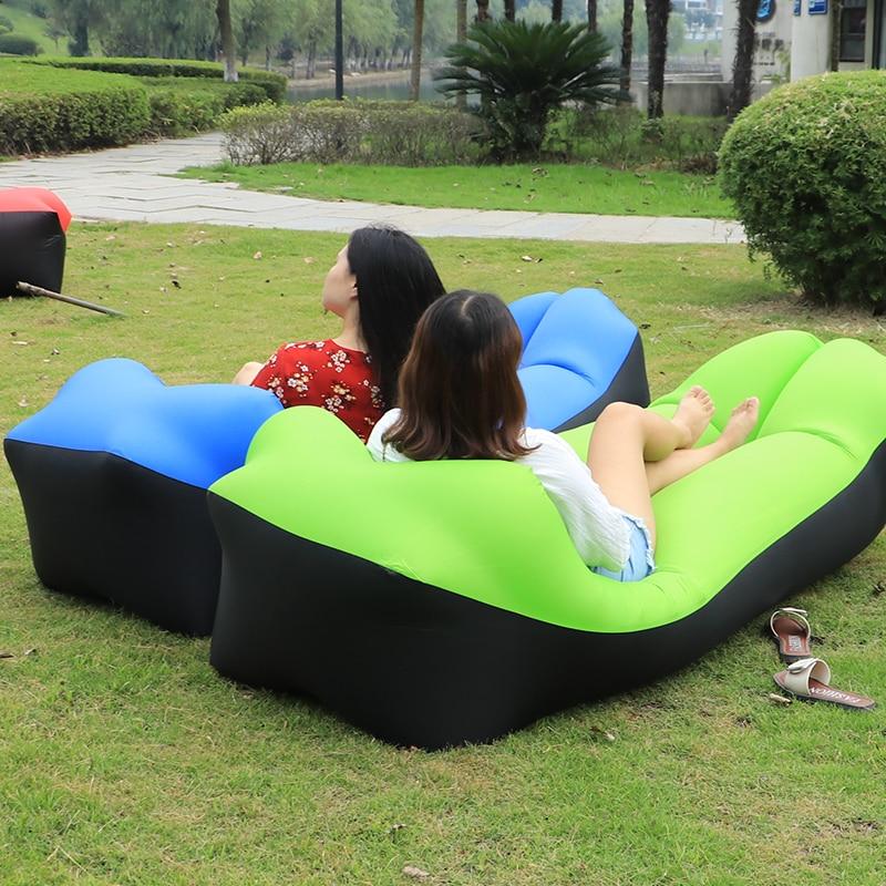 Mutli colores sofá inflable portátil Camping aire saco de dormir para sofá bolsa perezosa tumbona en bolsa cama de aire bolsa de frijoles rellenos de aire