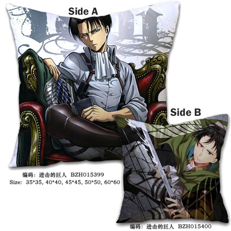 Almohadas decorativas Anime Attack on Titan, diseños personalizados, almohada estampada con personajes, cojines de dibujos animados impresos de dos lados, 45x45 cm