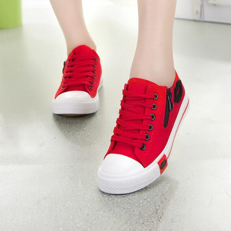 Zapatos de lona QIAOJINGREN, zapatillas de verano para mujer, zapatos planos de estudiante con cremallera lateral y labios rojos, zapatos vulcanizados para Skateboard
