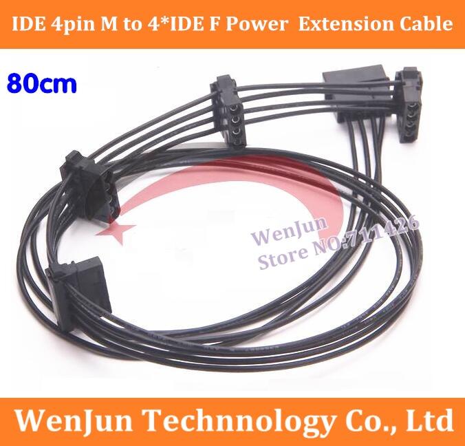 كابل تمديد مصدر طاقة أنثى ، IDE ، 4-pin ، 80 سنتيمتر ، 18awg ، 50 قطعة ، شحن مجاني