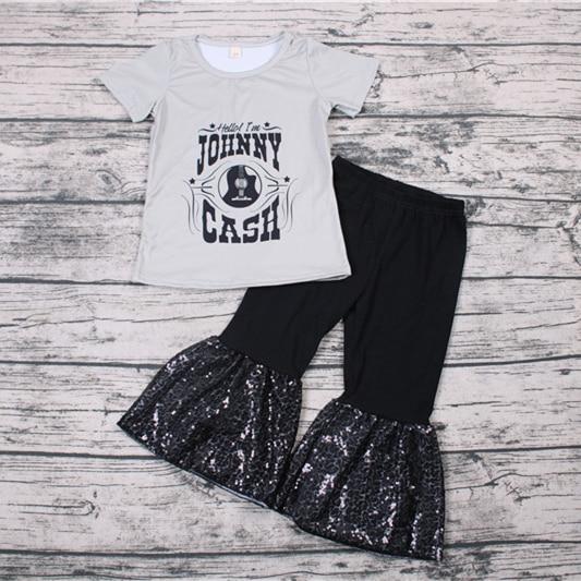 Conjunto de 2 Uds de camisa y pantalones con decoración de paillette de verano 2019