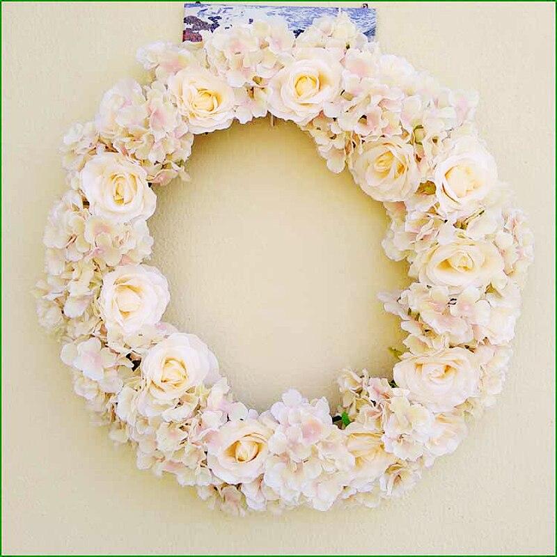 Artificial Door Knocker Garland  Simulation Silk Rose Flowers Wreath Foam Straw Garland Wedding Decoration Home Party Decor
