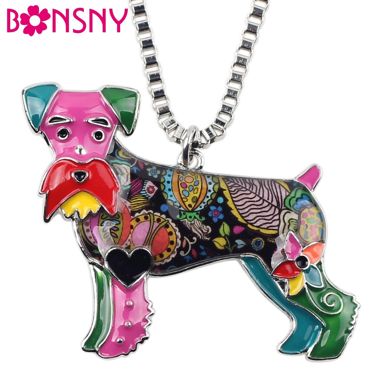 Bonsny эмалированный сплав стоящая Schnauzer Подвеска для ожерелья для собак ошейник цепь животное Новинка ювелирные изделия новинки для женщин подарок для девушек Горячая Распродажа