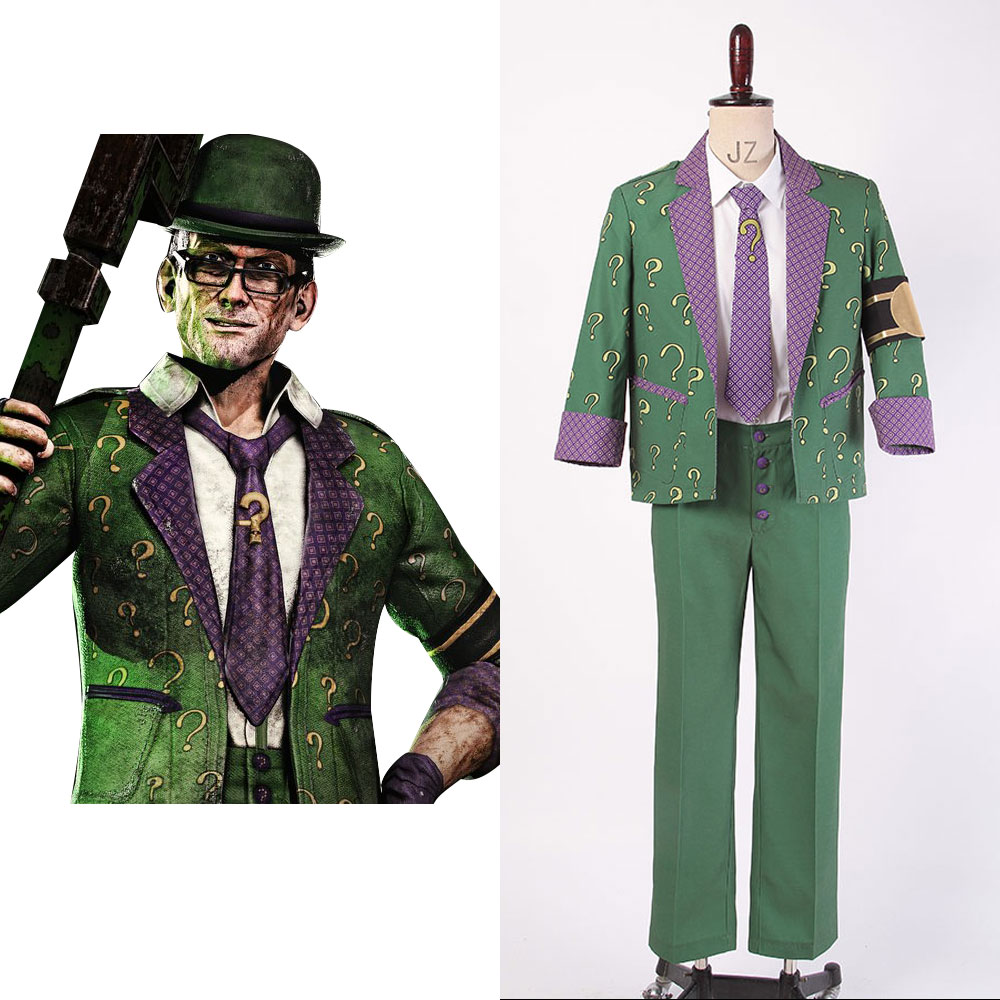 Batman Arkham City The Riddler Dr. Edward Nigma traje de Cosplay conjunto completo fiesta de Halloween para traje masculino
