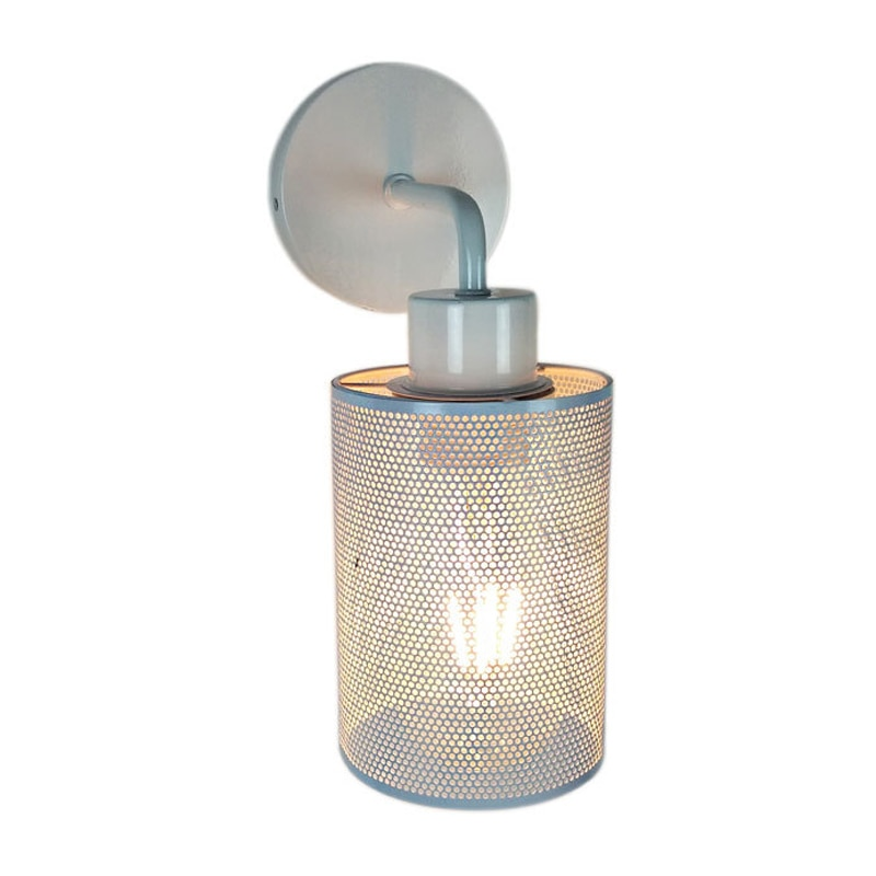 Lámpara de pared de jaula de hierro forjado retro Creative negro/blanco Industrial E27 Luz de pared para mesita de noche restaurante Bar apartamento café