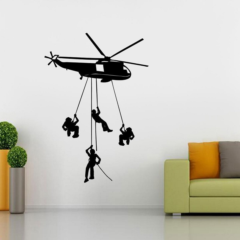 Helicóptero Chopper ejército pegatina de pared arte Mural Stencil silueta 2FJ16