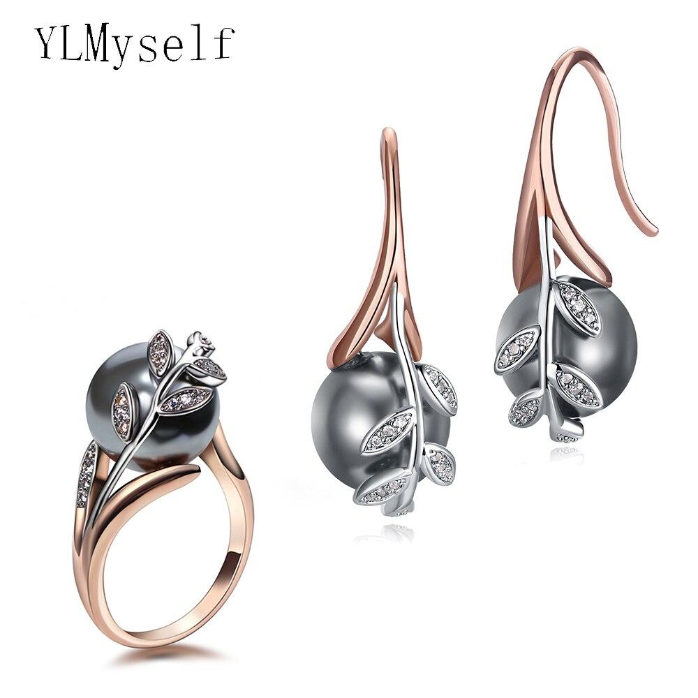 Серьги с кольцом, набор украшений для женщин из розового золота с серым жемчугом и кубическим цирконием