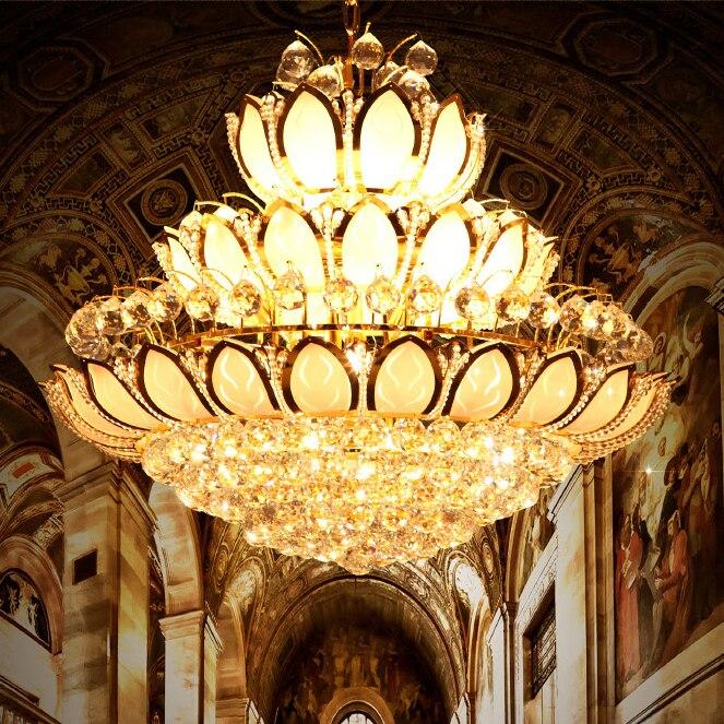 الأوروبي لوتس زهرة الذهب كريستال الثريات أضواء تركيبات الأمريكية اللوتس الذهبي الكريستال droplight فندق داخلي إضاءة المنزل
